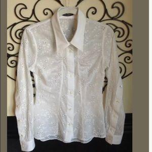 DOLCE & GABBANA white eyelet 42 6 blouse
